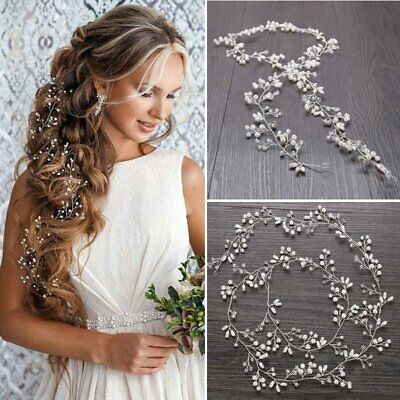 Wedding Hair Vine Bridal Accessories Crystal Pearl Headband Chain Headpiece new