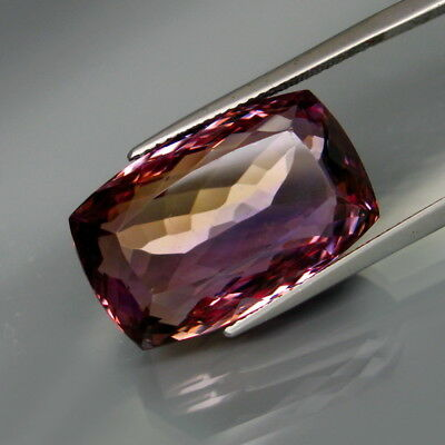 26.44Ct.Real! Natural HUGE Purple&Golden Bolivia Ametrine Full Fire&Nice Shape!