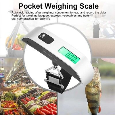 Portable Digital Travel Scale For Suitcase Luggage Weight 50Kg Hanging Scale NEW