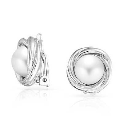 ad4baa926 Simulated Pearl Love Knot Bridal Clip On Earrings 10mm Plated Brass