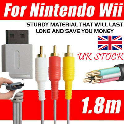 3 RCA Cable TV Lead Wire for Nintendo Wii PS1 PS2 PS3 Audio Video Composite TV
