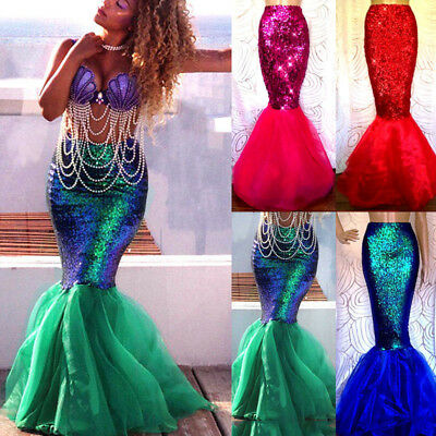 Womens Adult Mermaid Tail Full Skirt Party Maxi Fancy Dress Cosplay Costume