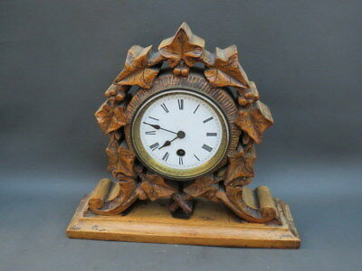 Vintage ornate carved wooden mantel clock with balance for restoration
