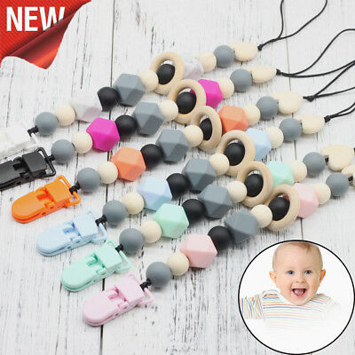 Safe Pacifier Clips Pacifier Teething Baby Teether Chain Clip Bead Dummy Holders