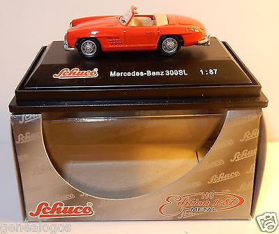 Micro Metall Druck- Guss- Schuco Ho 1/87 Mercedes-Benz 300 Sl Cabriolet Rot In