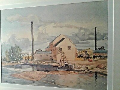 Canadian Artist Chisholm Wicks Mill Timmins Ontario 1953 Vintage