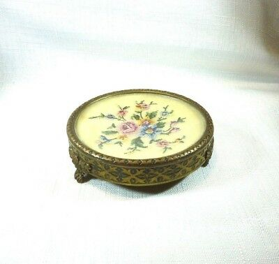 Collectable Vintage Regent Of London Petit Point Tapestry Vanity Jewellery Dish