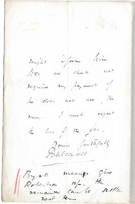 Earl of Balcarres - Earl of Crawford - astronomer -1893 letter Haigh Hall, Wigan