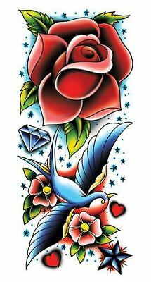 Vintage Style Temporary Tattoo Sleeve Swallow Heart Rockabilly Pinup