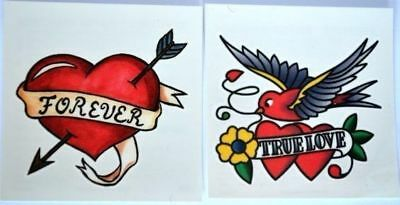 TWO x VINTAGE STYLE TEMPORARY TATTOO SWALLOW HEART ROCKABILLY BURLESQUE