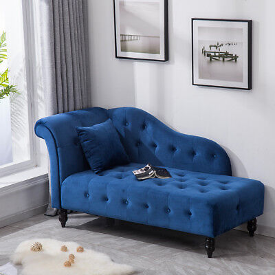 Luxury Blue Velvet Chaise Longue Couch Home Lounge Sofa Bed With Bolster Cushion