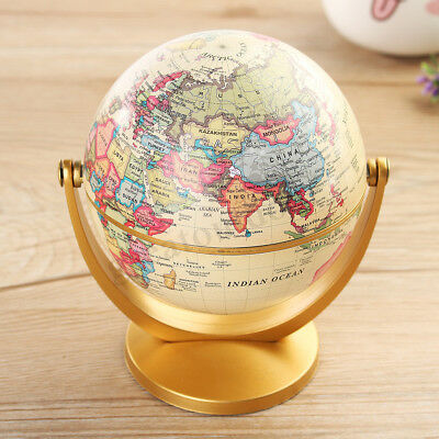 Vintage World Globe Earth Antique Desktop Decor Geography Educational Tool