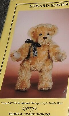 "Teddy Bear Edward Edwina Pattern 51cm 20"" Fully Jointed Sew Gerrys Antique Style"