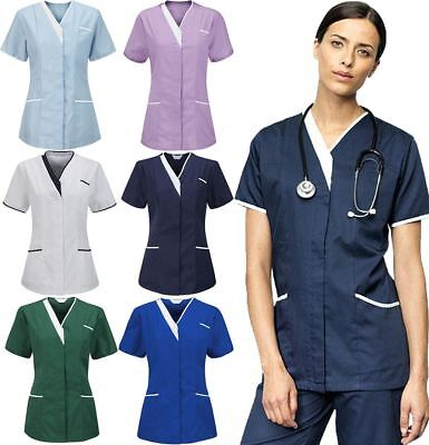Womens V Neck Healthcare Nurses Zip Fastening Tunic Top Ladies Hospital Uniform