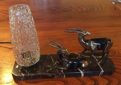 French Art Deco Deer Marble table light