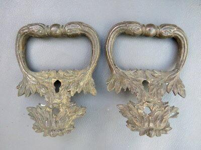 """Antique or vintage pair of ornate brass box handles - 3 3/8"""" wide"""