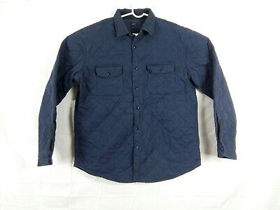 J Crew Men's XL Quilted Navy Blue Winter Insulated Shirt Jacket  Style 06888