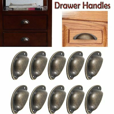 10pcs Antique Cupboard Cabinet Door Knob Drawer Furniture Shell Pull Handle