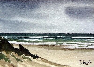 ORIGINAL AQUARELL - Regentag am Strand.