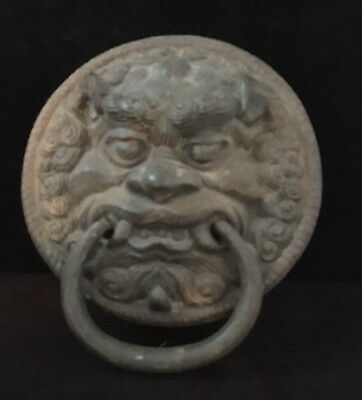 Chinese Bronze Imperial Guardian Lion / Foo Dog Door Knocker