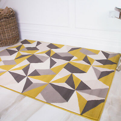 Modern Grey Yellow Ochre Mustard Living Room Rug Kaleidoscope Geometric Area Mat