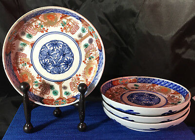 Japanese Arita Imari Porcelain Bowls (4) With Fuki Choshun Mark; Meiji Era
