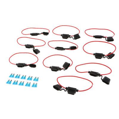 10Pack 12V Car Add-A-Circuit Fuse Tap Adapter Mini ATM APM Blade Fuse Holder