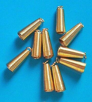 20 gold plated large coil ends for thong or cord, findings for jewellery making