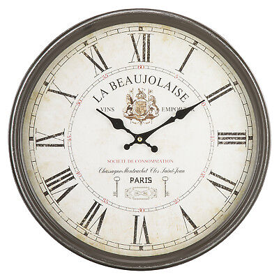Vintage French Style Wall Clock Circular Iron Frame Home Decor Classic Roman Num