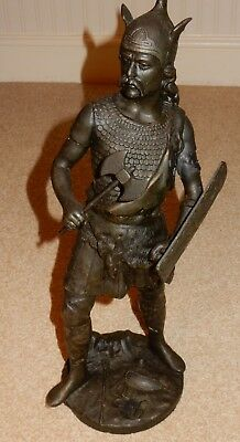 Vintage Spelter Warrior Figure Holding Axe and Sheild  J. Garnier