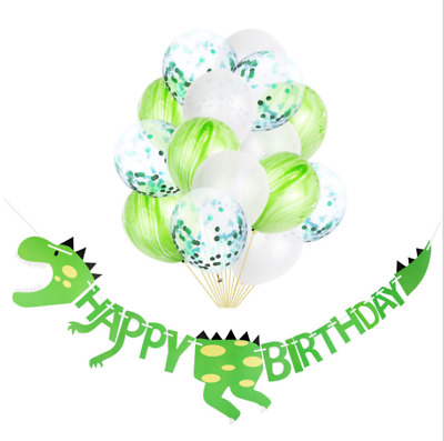 Dinosaur Happy Birthday Paper Banner balloons Bunting Party Decoration DIY UK