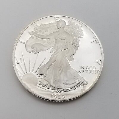 1989-S American Eagle 1 One Troy Oz $1 Dollar 999 Fine Silver Round Proof Coin