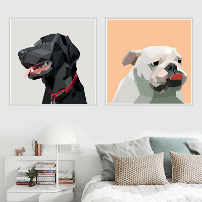 Abstract Geometric Cute Dog Head Canvas Art Painting Poster   Home Wall Decor
