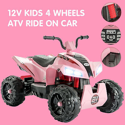 12V Electric Kids Ride On Toy ATV Car Quad 4 Wheels Toy Led Lights 2 Speed Pink