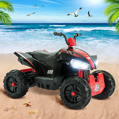 12V Electric Kids Ride On Toy ATV Car Quad 4 Wheels Toy Led Lights 2 Speed Red