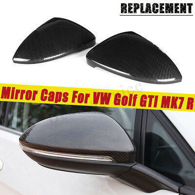 2x Carbon Fiber Color Replacement Side Mirror Cover Caps For VW Golf GTI MK7 R