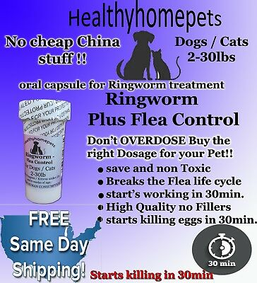 12 Capsules Ringworm and Flea Control killer in one for Dogs / Cats 2-30lbs NEW