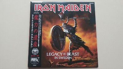 """Iron Maiden """"legacy Of The Beast In Sweden"""" 2 Lp Gold Vinyl + Poster 2018 Rare"""