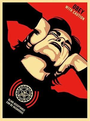 Shepard Fairey, OBEY WITH CAUTION 2006, Screen print Hand signed/numbered ed.300