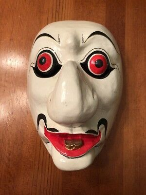 Hand Carved Painted Japanese Carved Wood Kabuki Noh Theater Folk Art Mask Java