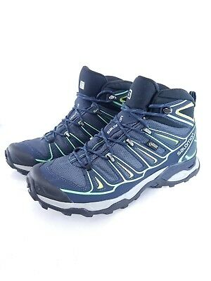 Salomon Men's Boots Hiking X Ultra GTX Gore Tex Outdoor Navy Blue Green Size 10