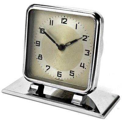 Vintage Mid Century Art Deco Chrome Desk Clock with Clockwork Movement