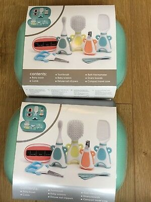 2 Mothercare Baby Grooming Set's, Brush, Scissors, Bath Thermometer With Case