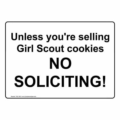 ComplianceSigns Aluminum No Solicitation Sign, 10 x 7 in. with English, White