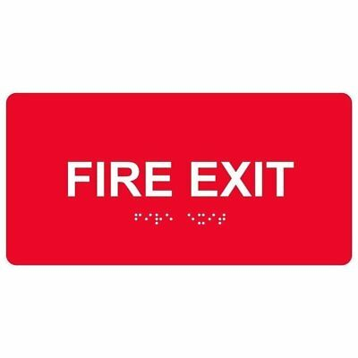 ComplianceSigns Acrylic ADA Braille Fire Exit Sign, 8 x 4,  Red