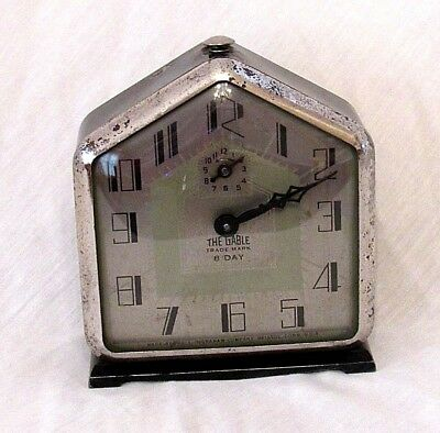 1920's ANTIQUE ART DECO INGRAHAM THE GABLE 8-DAY ALARM CLOCK- RUNNING SERVICED