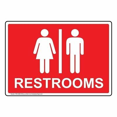 Restrooms Bilingual Wall Sign Projection-Mount 9x7 inch Burgundy Aluminum for Restrooms by ComplianceSigns