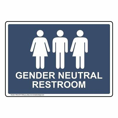 ComplianceSigns Plastic Gender Neutral Restroom Sign, 10 X 7 in. with English Te