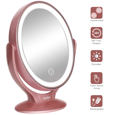 LED Lighted Makeup Mirror USB Rechargeable,1x / 7x Magnification Double...