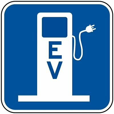 EV Electric Vehicle Charging Station Symbol Reflective Sign, 12x12 in. Aluminum